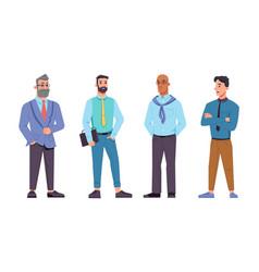 Businessmen different ages set bearded bald vector