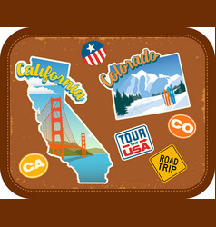California and colorado travel stickers vector