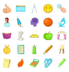 campus icons set cartoon style vector image