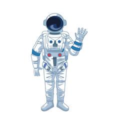 Cartoon astronaut waving icon colorful design vector