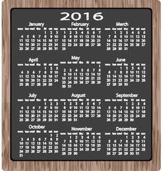 chalk on blackboard calendar 2016 vector image