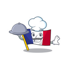 Chef with food flag france in cartoon shape vector