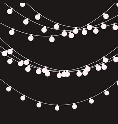 String Holiday Lights Black And White Christmas Vector
