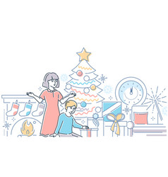 christmas time - modern line design style vector image