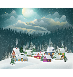 Christmas winter village and mountains vector