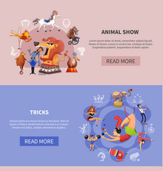 circus cartoon colored banner set vector image