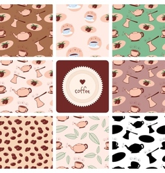 Coffee and Tea Seamless Patterns vector image