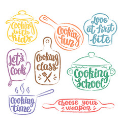 Collection of grunge contoured cooking label vector