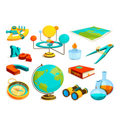 colored pictures of science and geography vector image