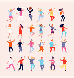 dancing people happy characters male and female vector image