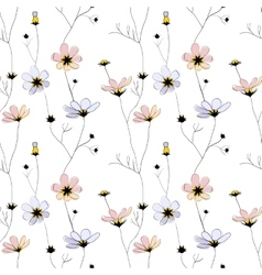 Delicate flowers seamless pattern on white vector