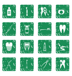 Dental care icons set grunge vector