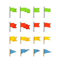 Different color flags collection isolated on white vector image