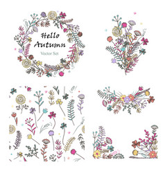 doodle set with floral design elements vector image