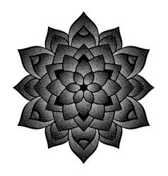 Dotted black flower symbol vector