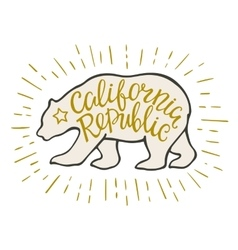 emblem california republic with bear and vector image