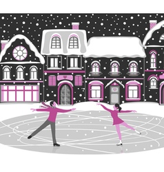 Figure skating greeting card vector image