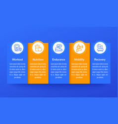 fitness infographics banner design with icons vector image
