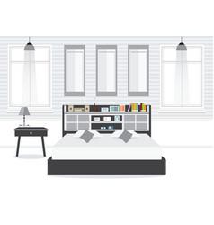 Flat design double bedroom wth furniture vector