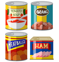 four canned food on white background vector image