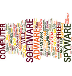 Free spyware adware remover text background word vector