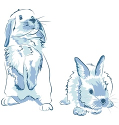 funny blue rabbits vector image