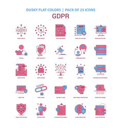 gdpr icon dusky flat color - vintage 25 icon pack vector image