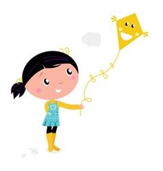 Girl flying kite vector