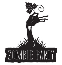 halloween lettering with zombie hand and leaf vector image vector image