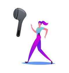 happy woman in sports wear and wireless headset vector image