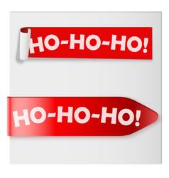 Ho-ho-ho red label ribbons vector