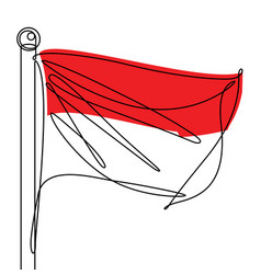 Indonesian flag one continuous line abstract icon vector