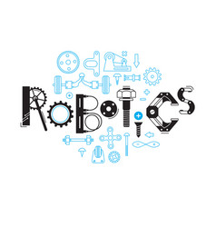 Inscription robotics of the details and gears vector