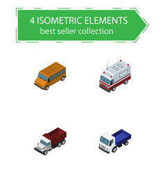 isometric automobile set of freight lorry vector image