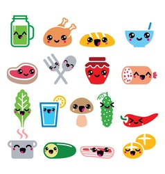 Kawaii cute food characters - meat vegetables vector image