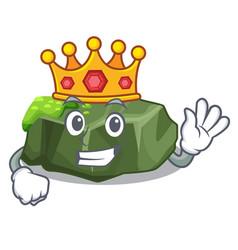 King green rock moss isolated on cartoon vector