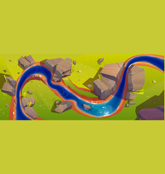 landscape with river top view vector image