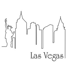 las vegas city one line drawing vector image