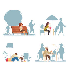 Lonely people compositions vector