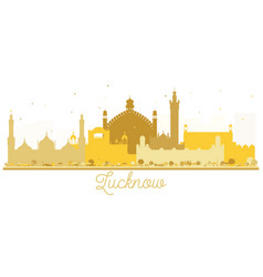 Lucknow india city skyline golden silhouette vector