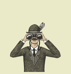 man in costume looking through binoculars vector image