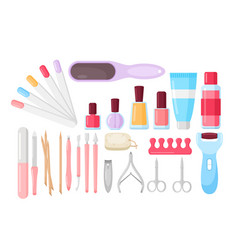 manicure pedicure tools and products color flat vector image