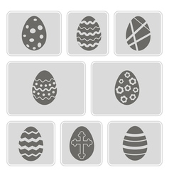 monochrome icons with Easter eggs vector image
