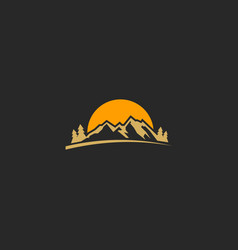 mountain sunset adventure nature logo vector image