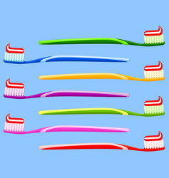multicolor cartoon toothbrush with toothpaste set vector image