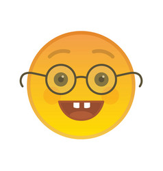 nerd emoticon with glasses isolated element vector image