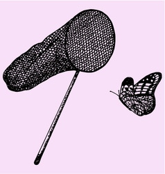 Net and butterfly vector