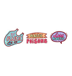no plastic poisons badges set isolated on white vector image