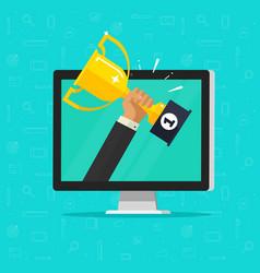 Online award goal achievement flat cartoon vector