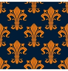 Orange floral fleur-de-lis seamless pattern vector image